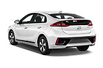 Car pictures of rear three quarter view of a 2018 Hyundai Ioniq Plug-In Hybrid Base 5 Door Hatchback angular rear