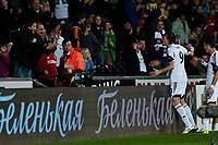 Thursday 24 October 2013  <br /> Pictured: Michu celebrates his goal <br /> Re:UEFA Europa League, Swansea City FC vs Kuban Krasnodar,  at the Liberty Staduim Swansea