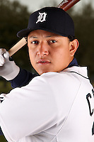 February 27, 2010:  Infielder Miguel Cabrera (24) of the Detroit Tigers poses for a photo during media day at Joker Marchant Stadium in Lakeland, FL.  Photo By Mike Janes/Four Seam Images