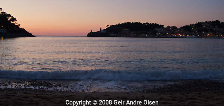 Sunset over the harbour at Port Soller, majorca, spain in late April