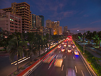 General life and environs in the Malate, Manila area and Manila Bay, Philippines. Sunset, Twilight on Roxas Boulevard.