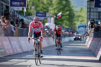 Maglia Rosa / overall leader secures his lead by finishing ahead of his closest rival Vincenzo Nibali (ITA/Bahrain-Merida)<br /> <br /> Stage 20: Feltre to Croce D'Aune-Monte Avena (194km)<br /> 102nd Giro d'Italia 2019<br /> <br /> ©kramon