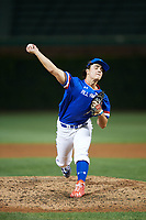 JT Ginn (7) of Brandon High School in Brandon, Mississippi delivers a pitch during the Under Armour All-American Game presented by Baseball Factory on July 29, 2017 at Wrigley Field in Chicago, Illinois.  (Mike Janes/Four Seam Images)