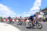 1st July 2021; Chateauroux, France; CAVENDISH Mark (GBR) of DECEUNINCK - QUICK-STEP, ALAPHILIPPE Julian (FRA) of DECEUNINCK - QUICK-STEP and DECLERCQ Tim (BEL) of DECEUNINCK - QUICK-STEP during stage 6 of the 108th edition of the 2021 Tour de France