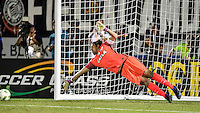 Orlando, FL - Saturday Jan. 21, 2017: Corinthians goalkeeper Cassio Ramos (12) can't stop the game deciding penalty shot during the penalty kick shootout of the Florida Cup Championship match between São Paulo and Corinthians at Bright House Networks Stadium. The game ended 0-0 in regulation with São Paulo defeating Corinthians 4-3 on penalty kicks.