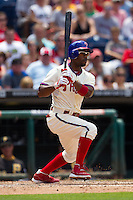 Philadelphia Phillies shortstop Jimmy Rollins #11 heads to first during the Major League Baseball game against the Pittsburgh Pirates on June 28, 2012 at Citizens Bank Park in Philadelphia, Pennsylvania. The Pirates defeated the Phillies 5-4. (Andrew Woolley/Four Seam Images).