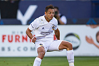 CARSON, CA - MAY 8: Javier Hernandez #14 of the Los Angeles Galaxy takes a shot and scores during a game between Los Angeles FC and Los Angeles Galaxy at Dignity Health Sports Park on May 8, 2021 in Carson, California.