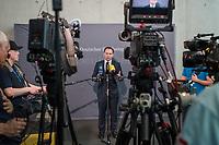 """5. Sitzung des """"1. Untersuchungsausschuss"""" der 19. Legislaturperiode des Deutschen Bundestag am Donnerstag den 19. April 2018 zur Aufklaerung des Terroranschlag auf den Weihnachtsmarkt am Berliner Breitscheidplatz im Dezember 2016 durch den islamistischen Terroristen Anis Amri.<br /> Die oeffentliche Anhoerung fand mit sieben Sachverstaendigen und einem AfD-Politiker aus Baden-Wuerttemberg zum Thema: """"Vollzug des Aufenthalts- und Asylrechts im foederalen Gefuege"""" statt.<br /> Im Bild: Volker Ullrich, Obmann der CDU/CSU-Fraktion im Ausschuss beim Pressestaement vor der Ausschusssitzung.<br /> 19.4.2018, Berlin<br /> Copyright: Christian-Ditsch.de<br /> [Inhaltsveraendernde Manipulation des Fotos nur nach ausdruecklicher Genehmigung des Fotografen. Vereinbarungen ueber Abtretung von Persoenlichkeitsrechten/Model Release der abgebildeten Person/Personen liegen nicht vor. NO MODEL RELEASE! Nur fuer Redaktionelle Zwecke. Don't publish without copyright Christian-Ditsch.de, Veroeffentlichung nur mit Fotografennennung, sowie gegen Honorar, MwSt. und Beleg. Konto: I N G - D i B a, IBAN DE58500105175400192269, BIC INGDDEFFXXX, Kontakt: post@christian-ditsch.de<br /> Bei der Bearbeitung der Dateiinformationen darf die Urheberkennzeichnung in den EXIF- und  IPTC-Daten nicht entfernt werden, diese sind in digitalen Medien nach §95c UrhG rechtlich geschuetzt. Der Urhebervermerk wird gemaess §13 UrhG verlangt.]"""