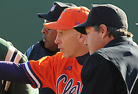 Clemson head coach Jack Leggett (7) in a game between the Charlotte 49ers and Clemson Tigers Feb. 20, 2009, at Doug Kingsmore Stadium in Clemson, S.C. (Photo by: Tom Priddy/Four Seam Images)