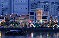 Asie/Singapour/Singapour: Boat Quay - Vue nocturne
