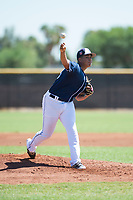 San Diego Padres starting pitcher Luarbert Arias (43) delivers a pitch during an Instructional League game against the Milwaukee Brewers at Peoria Sports Complex on September 21, 2018 in Peoria, Arizona. (Zachary Lucy/Four Seam Images)