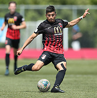 Action from the ISPS Handa Premiership football round 4 match between Canterbury United Dragons and Hawke's Bay United at English Park in Christchurch, New Zealand on Sunday, 24 November 2019. Photo: Martin Hunter / lintottphoto.co.nz