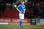St Johnstone v Partick Thistle…02.03.16  SPFL McDiarmid Park, Perth<br />A dejected Murray Davidson at full time<br />Picture by Graeme Hart.<br />Copyright Perthshire Picture Agency<br />Tel: 01738 623350  Mobile: 07990 594431