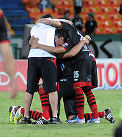 MEDELLêN -COLOMBIA-09-11-2013. Jugadores del Cucuta Deportivo celebran su permanencia en la primera division del futbol colombiano al vencer al Atletico Nacional de visitante. Accion de juego entre los equipos Atletico Nacional y el Cucuta Deportivo durante partido de la 18 fecha del la Liga Postob—n 2013-1 realizado en el estadio Atanasio Girardot de Medell'n./ Cucuta Deportivo players celebrate their permanence in the first divison Colombian football by beating Atletico Nacional visitor. Action game between teams Atletico Nacional and Deportivo Cucuta during the 18th game of the League Postob—n date 2013-1 made ??in the Atanasio Girardot stadium in Medellin..Photo:VizzorImage / Luis Rios / Stringer