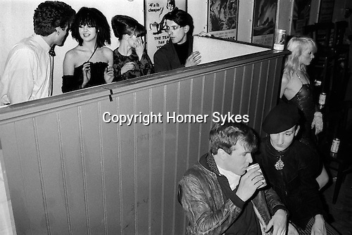 Blitz Club Covent Garden London 1980.<br /> <br /> Top row: Girl with black Bob hairstyle is Wendy May who was Billy Idol's girlfriend in the band Chelsea. Girl on right is Lorraine from the dance troupe Spoonoch. <br /> The man sipping can of beer is Peter Ashworth talking to Stephen Jones in beret.  Wendy TigerPearson (Wendy Tiger Pearson)<br /> <br /> My ref 17a/4006/1980