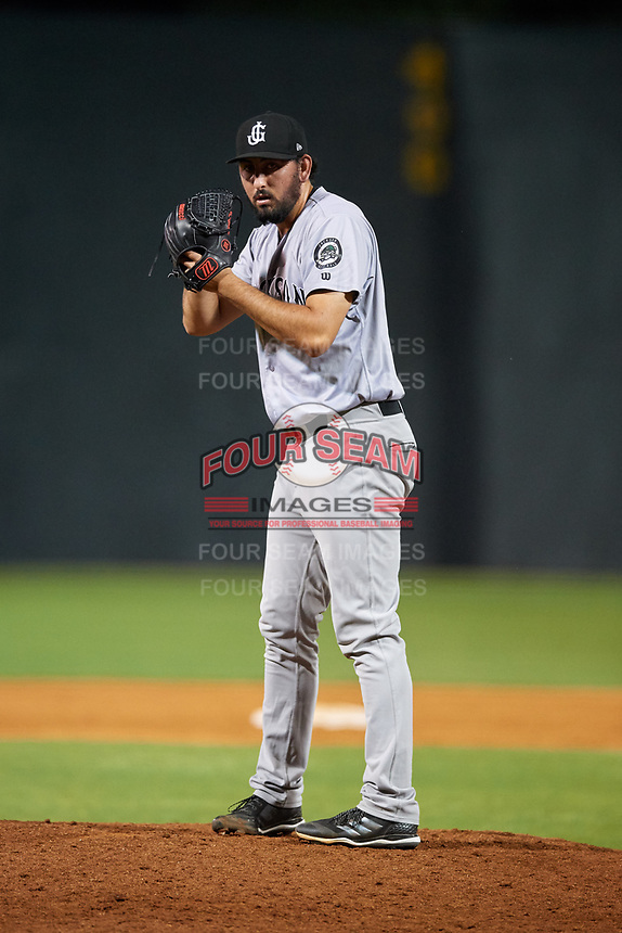 Jackson Generals relief pitcher Justin Donatella (21) gets ready to deliver a pitch during a game against the Chattanooga Lookouts on May 9, 2018 at AT&T Field in Chattanooga, Tennessee.  Chattanooga defeated Jackson 4-2.  (Mike Janes/Four Seam Images)