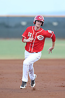 Blake Butler (16) of the AZL Reds runs the bases during a game against the AZL Brewers at Cincinnati Reds Spring Training Complex on July 5, 2015 in Goodyear, Arizona. Reds defeated the Brewers, 9-4. (Larry Goren/Four Seam Images)