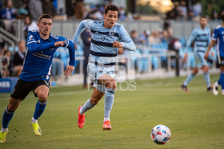 SAN JOSE, CA - MAY 22: Luis Martins #36 of Sporting Kansas City dribbles the ball during a game between San Jose Earthquakes and Sporting Kansas City at PayPal Park on May 22, 2021 in San Jose, California.