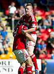St Johnstone v Aberdeen....18.08.12   SPL.Johnny Hayes celebrates his goal with Scott Vernon.Picture by Graeme Hart..Copyright Perthshire Picture Agency.Tel: 01738 623350  Mobile: 07990 594431