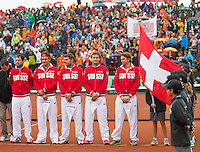 14-09-12, Netherlands, Amsterdam, Tennis, Daviscup Netherlands-Swiss,  Suiss team during ceremony