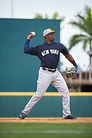New York Yankees third baseman Miguel Andujar (94) throws to first base during a Grapefruit League Spring Training game against the Pittsburgh Pirates on March 6, 2017 at LECOM Park in Bradenton, Florida.  Pittsburgh defeated New York 13-1.  (Mike Janes/Four Seam Images)