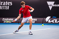 8th February 2021; Melbourne, Victoria, Australia;  Pablo Carreno Busta of Spain returns the ball during round 1 of the 2021 Australian Open on February 8 2020, at Melbourne Park in Melbourne, Australia.