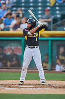 Sherman Johnson (1) of the Salt Lake Bees bats against the El Paso Chihuahuas at Smith's Ballpark on August 14, 2018 in Salt Lake City, Utah. El Paso defeated Salt Lake 6-3. (Stephen Smith/Four Seam Images)