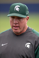 Michigan State Spartans head coach Jake Boss Jr. before  the NCAA baseball game against the Michigan Wolverines on May 7, 2019 at Ray Fisher Stadium in Ann Arbor, Michigan. Michigan defeated Michigan State 7-0. (Andrew Woolley/Four Seam Images)