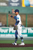 Everett AquaSox second baseman Cesar Izturis Jr. (40) during a Northwest League game against the Tri-City Dust Devils at Everett Memorial Stadium on September 3, 2018 in Everett, Washington. The Everett AquaSox defeated the Tri-City Dust Devils by a score of 8-3. (Zachary Lucy/Four Seam Images)