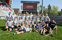 Monday 22nd April 2019   2019 McCrea Cup Final<br /> <br /> Grosvenor captain Andrew Kelly celebrate winning the McCrea Cup after they defeated Queens 2s in the final at Kingspan Stadium, Ravenhill Park, Belfast. Northern Ireland. Photo John Dickson/Dicksondigital