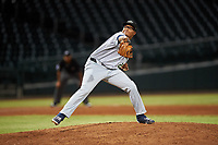 Peoria Javelinas relief pitcher Aaron Fletcher (28), of the Seattle Mariners organization, during an Arizona Fall League game against the Mesa Solar Sox on September 21, 2019 at Sloan Park in Mesa, Arizona. Mesa defeated Peoria 4-1. (Zachary Lucy/Four Seam Images)