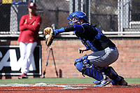 ELON, NC - MARCH 1: Kyle Harbison #13 of Indiana State University catches a pitch during a game between Indiana State and Elon at Walter C. Latham Park on March 1, 2020 in Elon, North Carolina.