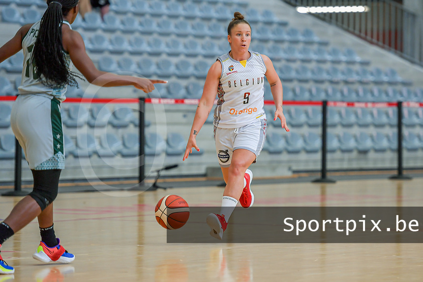 Marjorie Capreaux (9) of Belgium pictured during a basketball game between the national teams of Belgium , called the Belgian Cats , and Nigeria on Sunday 30 th of May 2021 in Kortrijk , Belgium . PHOTO SPORTPIX.BE   SPP   STIJN AUDOOREN