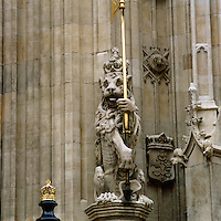 One of the heraldic lions that flank the gateway to Victoria Tower