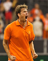 September 12, 2014, Netherlands, Amsterdam, Ziggo Dome, Davis Cup Netherlands-Croatia, Robin Haase equals the score 1-1<br /> Photo: Tennisimages/Henk Koster