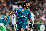 Marcelo Vieira Da Silva of Real Madrid celebrates after scoring his goal during the La Liga 2017-18 match between Valencia CF and Real Madrid at Estadio de Mestalla  on 27 January 2018 in Valencia, Spain. Photo by Maria Jose Segovia Carmona / Power Sport Images