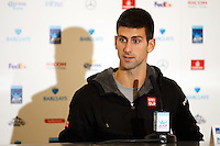 Novak Djokovic is interviewed during a media day at the Barclays ATP World Tour Finals at The O2 centre, North Greenwich, London.