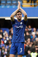 Chelsea's Marcos Alonso applauds the fans at the final whistle <br /> <br /> Photographer Stephanie Meek/CameraSport<br /> <br /> The Premier League - Chelsea v Everton - Sunday 8th March 2020 - Stamford Bridge - London<br /> <br /> World Copyright © 2020 CameraSport. All rights reserved. 43 Linden Ave. Countesthorpe. Leicester. England. LE8 5PG - Tel: +44 (0) 116 277 4147 - admin@camerasport.com - www.camerasport.com