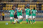 12.09.2020, Ernst-Abbe-Sportfeld, Jena, GER, DFB-Pokal, 1. Runde, FC Carl Zeiss Jena vs SV Werder Bremen<br /> <br /> Jubel 0:1 Joshua Sargent (Werder Bremen #19) mir Davie Selke  (SV Werder Bremen #09)<br /> Leonardo Bittencourt  (Werder Bremen #10)<br /> Davy Klaassen (Werder Bremen #30)<br /> Tahith Chong (Werder Bremen #22)<br /> Querformat<br /> Zuschauer leere Raenge HIntergrund Corona<br /> <br /> <br />  <br /> <br /> <br /> Foto © nordphoto / Kokenge