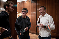 """Johan Museeuw and Phil Anderson enjoying a chat and a beer backstage at the Rouleur Classic, London 2019;  """"The World's Finest Road Cycling Exhibition""""<br /> <br /> ©kramon"""