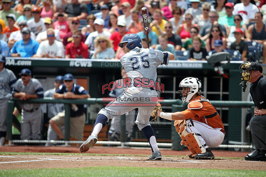 Taylor Sparks #25 of the UC Irvine Anteaters bats during Game 1 of the 2014 Men's College World Series between the UC Irvine Anteaters and Texas Longhorns at TD Ameritrade Park on June 14, 2014 in Omaha, Nebraska. (Brace Hemmelgarn/Four Seam Images)