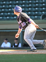 Third baseman Tyler White (20) of the Western Carolina Catamounts in a game against the Cincinnati Bearcats on Sunday, February 24, 2013, at Fluor Field in Greenville, South Carolina. Cincinnati won in 10 innings, 7-6. (Tom Priddy/Four Seam Images)