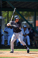 GCL Yankees 1 third baseman Donny Sands (89) at bat during the first game of a doubleheader against the GCL Tigers on August 5, 2015 at Tigertown in Lakeland, Florida.  GCL Tigers derated the GCL Yankees 5-2.  (Mike Janes/Four Seam Images)