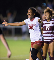 Hawgs Illustrated/BEN GOFF <br /> Bryana Hunter of Arkansas celebrates after scoring a goal in the second half vs Texas A&M Thursday, Sept. 20, 2018, at Razorback Field in Fayetteville.