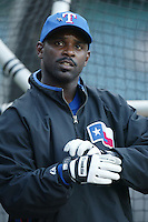 Carl Everett of the Texas Rangers before a 2002 MLB season game against the Los Angeles Angels at Angel Stadium, in Los Angeles, California. (Larry Goren/Four Seam Images)