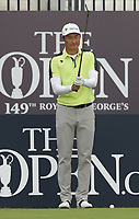 13th July 2021; The Royal St. George's Golf Club, Sandwich, Kent, England; The 149th Open Golf Championship, practice day; Haotong Li (CHN) prepares to hit his tee shot on the 1st hole