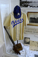 Display in the childhood home of Hank Aaron, that has been turned into a museum and moved to a stadium location, before a Mobile BayBears a game against the Pensacola Blue Wahoos on April 14, 2013 at Hank Aaron Stadium in Mobile, Alabama.  Mobile defeated Pensacola 5-2.  (Mike Janes/Four Seam Images)