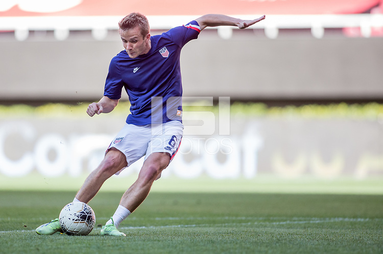 ZAPOPAN, MEXICO - MARCH 21: Jackson Yueill #6 of the United States warming up before a game between Dominican Republic and USMNT U-23 at Estadio Akron on March 21, 2021 in Zapopan, Mexico.