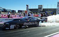 Oct. 30, 2011; Las Vegas, NV, USA: NHRA pro mod driver Leah Pruett during the Big O Tires Nationals at The Strip at Las Vegas Motor Speedway. Mandatory Credit: Mark J. Rebilas-