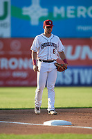 Mahoning Valley Scrappers third baseman Henry Pujols (8) during a NY-Penn League game against the Hudson Valley Renegades on July 15, 2019 at Eastwood Field in Niles, Ohio.  Mahoning Valley defeated Hudson Valley 6-5.  (Mike Janes/Four Seam Images)